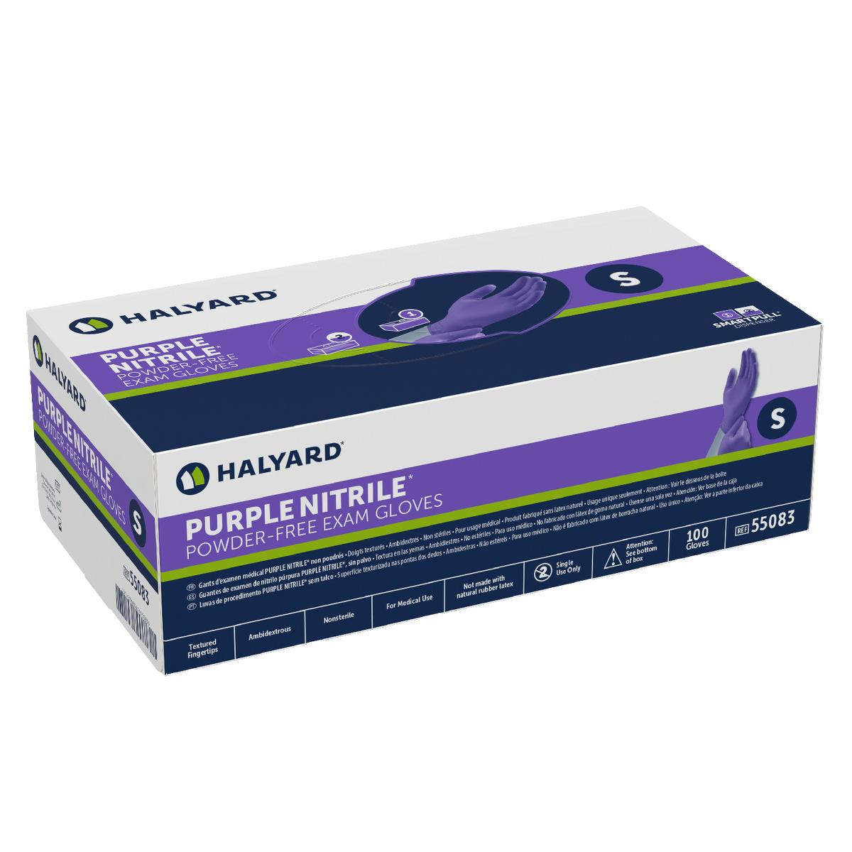 Non-Sterile Purple Nitrile Exam Gloves, Box of 100